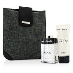 Bvlgari Man Coffret: Eau De Toilette Spray 100ml/3.4oz + After Shave Balm 100ml/3.4oz + Bag  2pcs+1bag