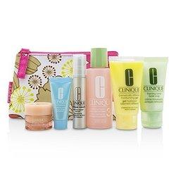 Clinique Travel Set: Facial Soap 30ml+Lotion 3 60ml+DDMG 30ml+Smart Serum 10ml+Turnaround Serum 7ml+All About Eyes 7ml+Bag  6pcs+1bag