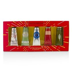 L'Occitane Hand Cream Collection Set: Cherry Blossom + Almond + Shea Butter + Rose + Verveine (Verbena)  5x30ml/1oz
