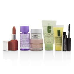 Clinique Travel Set: M/U Remover 30ml+Facial Soup 30ml+Moisture Surge 15ml+DDML 15ml+Moisture Cream 7ml+Mascara 2.5ml+Lip Color 2.3g  7pcs