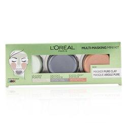 L'Oreal Multi-Masking Mini Kit:  Exfoliate & Refine Pores Clay Mask, Detoxifies & Clarifies Clay Mask & Purify & Mattify Clay Mask  3pcs