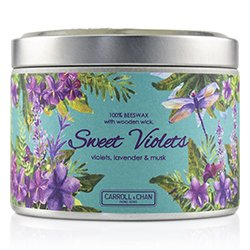 The Candle Company Tin Can 100% Beeswax Candle with Wooden Wick - Sweet Violets  (8x5) cm