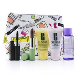 Clinique Bonus Travel Set: M/U Remover 50ml+ Foaming Cleanser 30ml+ DDML+ 30ml+ High Impact Mascara 3.5ml+ Long Last Lipstick 3.8g+ Bag  5pcs+1bag